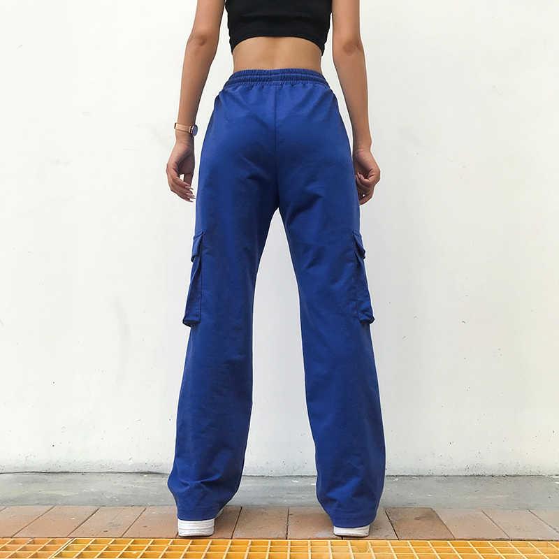 Weekeep, женские Лоскутные Брюки с карманами, с высокой талией, синие, на завязках, с эластичной талией, брюки-карго, уличная одежда, прямые брюки для женщин