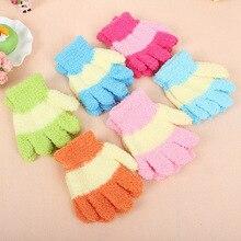 Winter Warm Baby Gloves Children Knitted Stretch Mittens Kids Fluffy Girls Gloves Full Finger Glove Knitted Random Boys Gloves