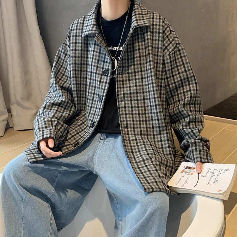 Мужская одежда в гонконгском стиле; Новинка 2020 года; Осенне-зимнее шерстяное пальто в клетку; Мужское свободное повседневное пальто с отложным воротником; Тренд