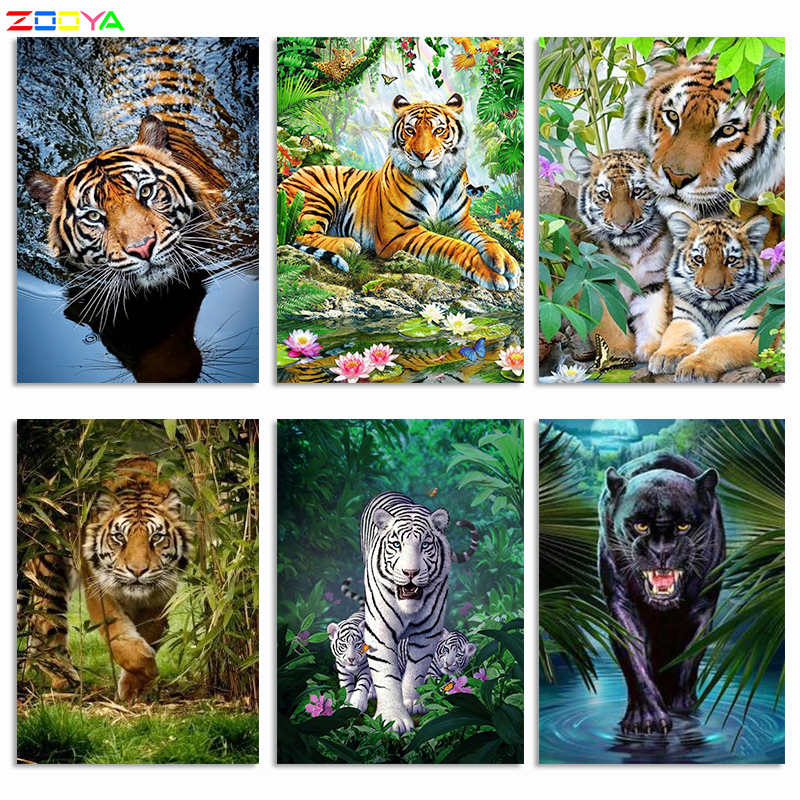 5D Diamond Painting Tiger Full Kits Partial Drill Mosaic Animal Handicraft Gift