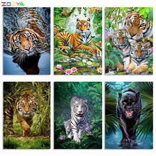 ZOOYA 5D DIY Diamond Painting Tiger Full Square / Round Picture Diamond Embroidery Sale Animals Diamond Mosaic Decor Gift K028 zooya diy 5d diamond painting animal cats full square cartoon diamond embroidery full set sale diamond mosaic animals home decor