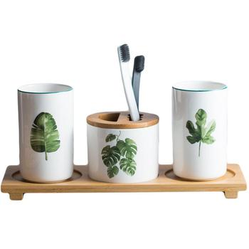 3PCs Bathroom Accessories Toothbrush Holder Ceramic Green Plant Couple Toothpaste Cup Holder with Bamboo Tray Nordic Cups Set 3pcs bathroom accessories toothbrush holder ceramic green plant couple toothpaste cup holder with bamboo tray nordic cups set