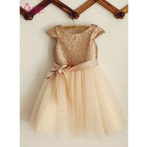 Новинка 2019 г.; платье с цветочным узором для девочек; платье цвета шампанского из блестящего тюля с блестками и бантом на поясе; платье на молнии с рукавами-крылышками