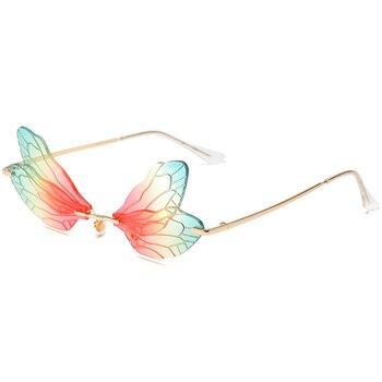 2020 New fashion luxury rimless metal sunglasses feminine personality gradual change dragonfly dazzling color UV400