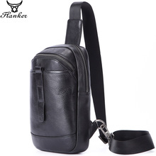 Flanker 2019 new genuine leather men chest bag with zip pocket fashion brand messenger bag travel male rding sling crossbody bag aoking new fashion lightweight leisure crossbody bag for men travel messenger shoulder bag sling bag with reflective strip