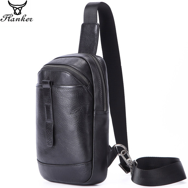 Flanker 2019 novo genuíno couro de homens saco peito com bolso com zíper marca de moda saco do mensageiro saco de viagem masculino rding sling crossbody saco