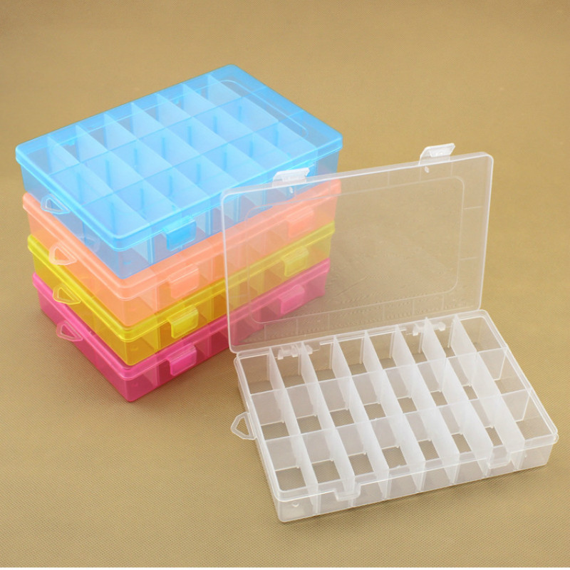 10/24 Compartment Storage Box Practical Adjustable Plastic Case <font><b>for</b></font> <font><b>Bead</b></font> Rings Jewelry Display <font><b>Organizer</b></font> lw03211151 image