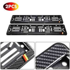 2PCS Car License Plate Frame Waterproof European/UK Auto Automobiles Number Plate Holder Bracket Real Carbon Fiber