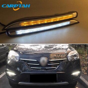 LED Daytime Running Light For Renault Koleos 2011 - 2014 Waterproof 12V Yellow Turn Signal Indicator Light Bumper Lamp LED DRL