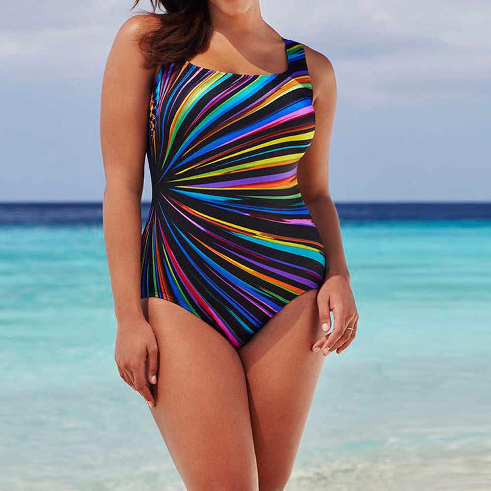 Plus rozmiar kolorowy jednoczęściowy strój kąpielowy kobiety w paski drukuj strój kąpielowy duży rozmiar kawałek strój kąpielowy Maillot De Bain strój kąpielowy