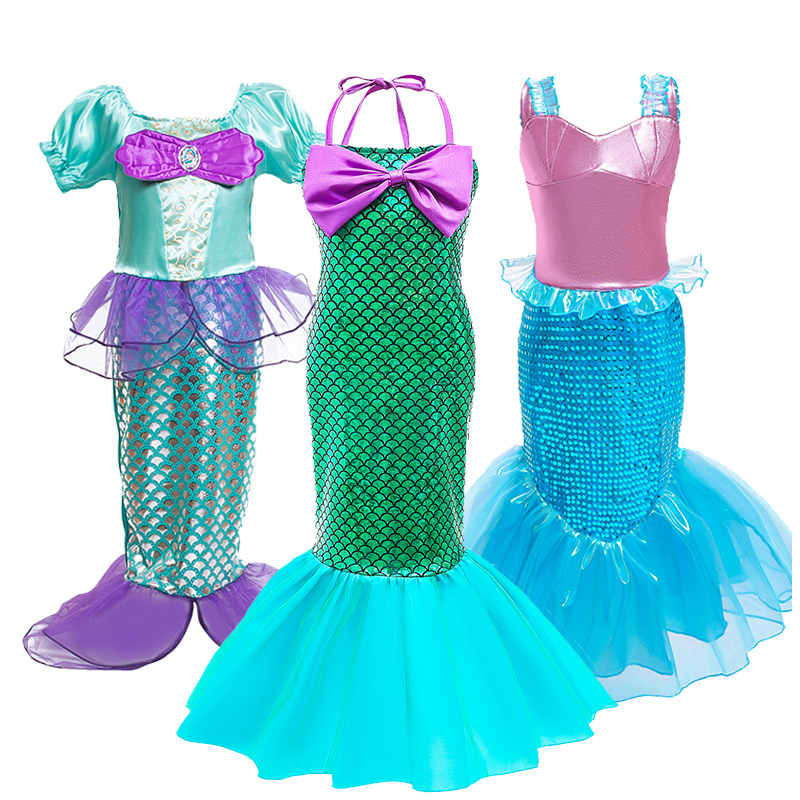 Mermaid Cosplay Costume For Girls Make Up Party Clothing Kids Halloween Princess Ariel Dress Up Outfit Children's Mermaid Dress