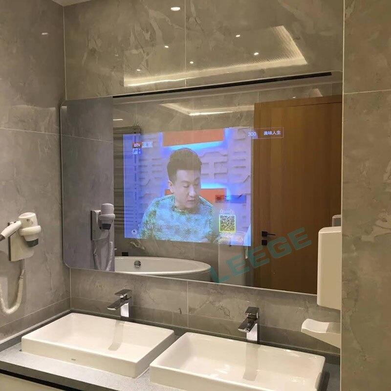 50 pouces android wi fi panneau de verre de miroir de salle de bains etanche led tv inernet tv salle de douche led full hd 1080 intelligent airplay