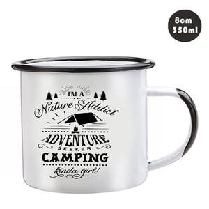 Image 2 - Edelstahl Camping Kaffee Becher Camping Irgendwie Mädchen Retro Emaille Geburtstag Weihnachten Im Freien Metall Emaille Lagerfeuer Tasse