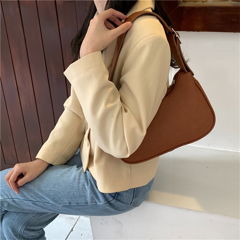 Women Vintage Baguette Bag Handbag Soft Leather Subaxillary Shoulder Bag Lady's Small Shoulder Bags Female Messenger Packs Totes