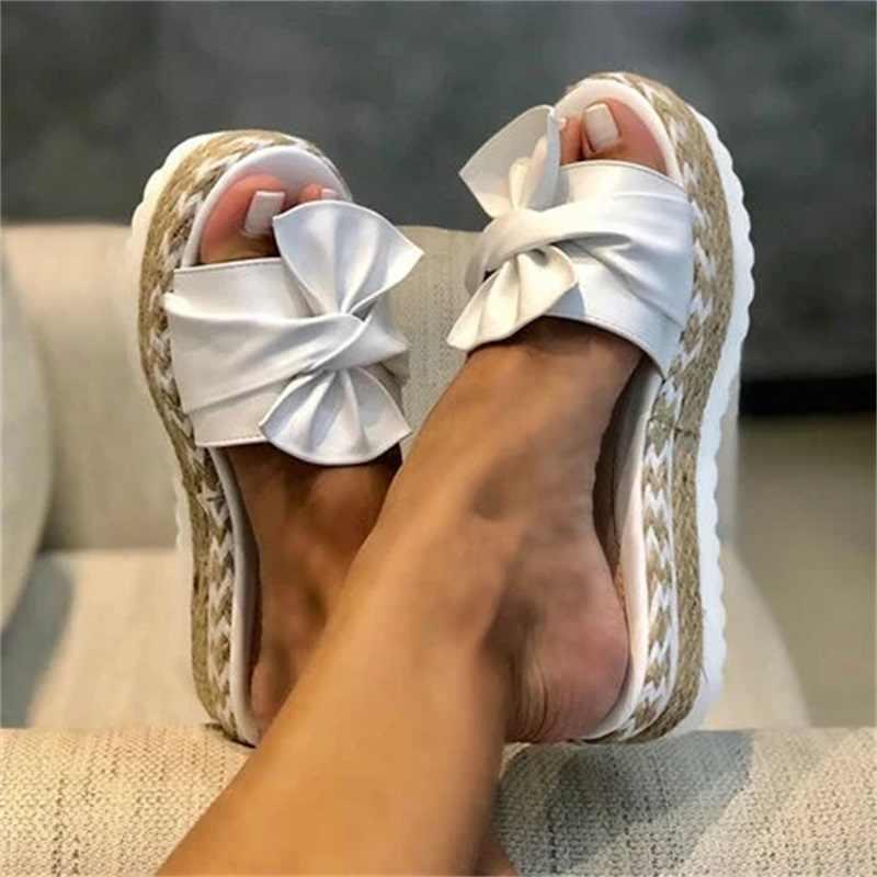 Phụ Nữ Có Nơ Giày Sandal Mùa Hè 2020 Bình Dân Thoải Mái Trơn Trượt Trên Nền Tảng Dép Xăng Đan Nữ Ngón Chân Breathbale Dệt Xăng Đan