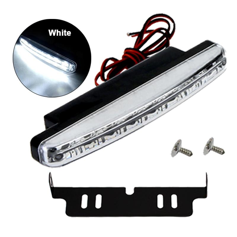 1x Car External LED Working Bulb Daytime Running Light Super Bright White Auto Fog Lamp Assembly Car Styling DRL 8LED 6000K 12V