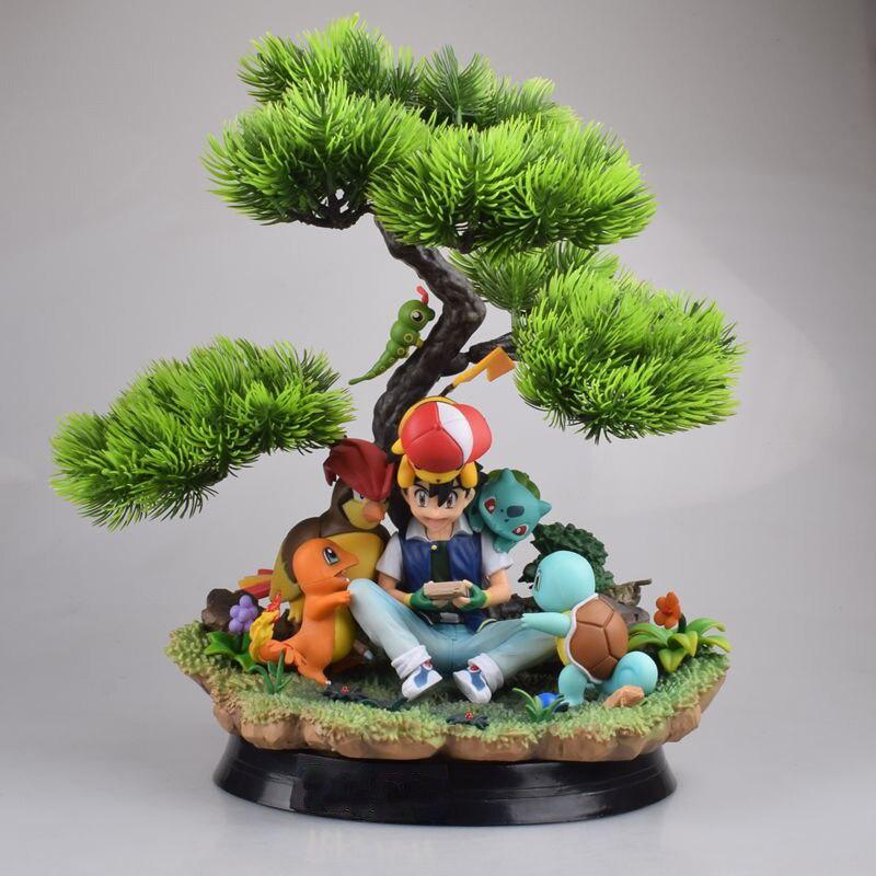 Pokemon PVC Action Figure Toy Ash Ketchum Charizard Bulbasaur 250mm Anime Pokemon Game Squirtle Figurine Toys Diorama
