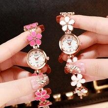 Мода многоцветный цветок браслет часы женские часы роскошный горный хрусталь дамы женщины часы часы mujer