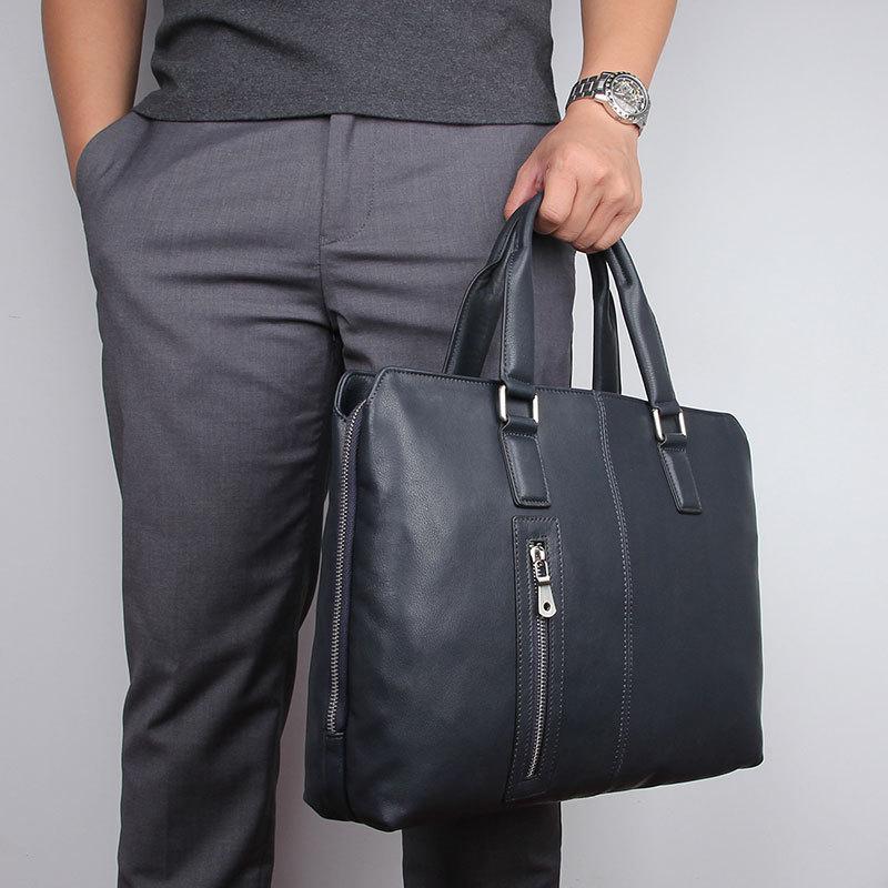 Nesitu High Quality A4 Black Chocolate Blue Genuine Leather 14'' Laptop Men's Briefcase Business Messenger Bags Portfolios M7411