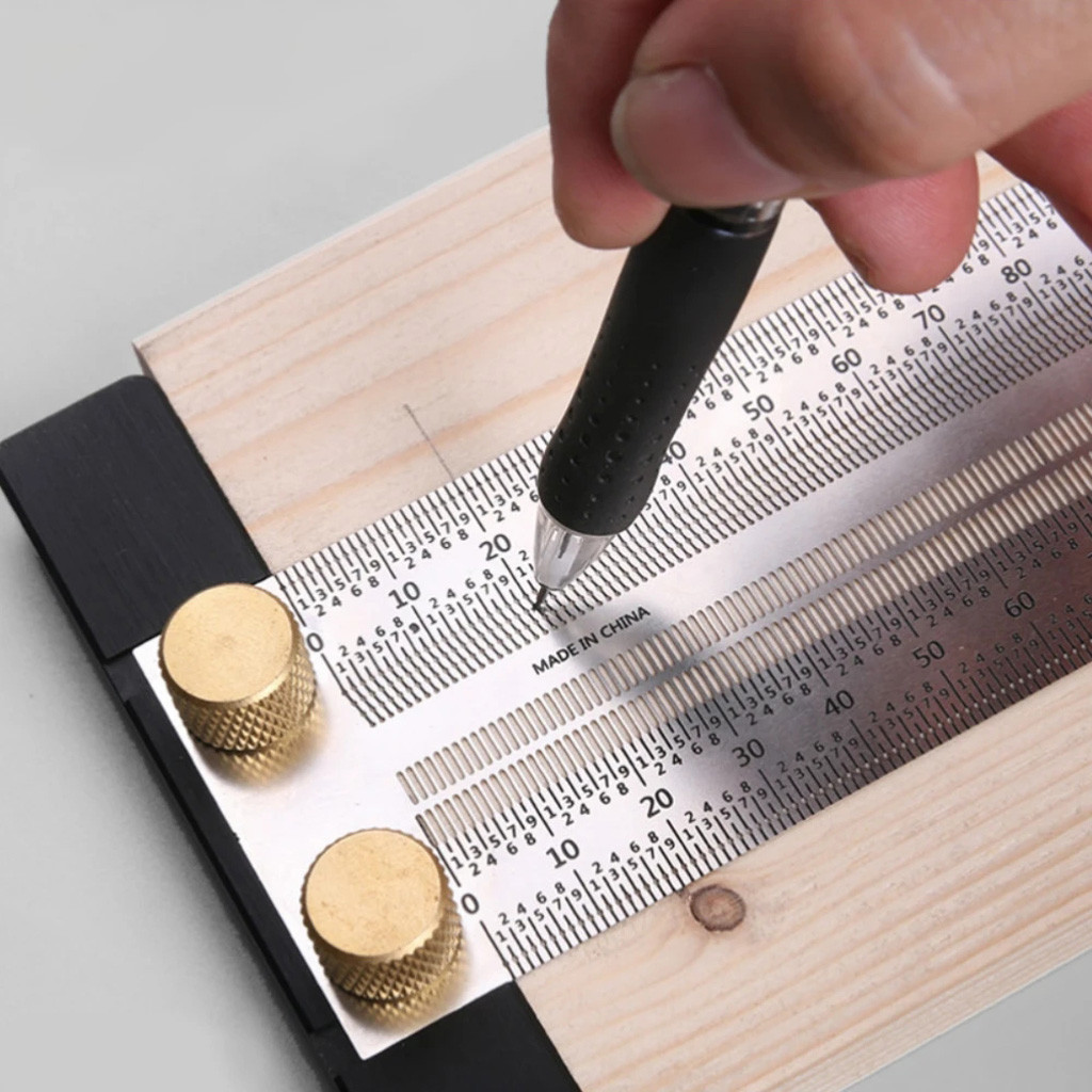 Ultra Precision Marking Ruler Scale Ruler Right-angle/t-type Hole Stainless Scribing Diy Woodworking Mark Line Gauge Carpenter#G