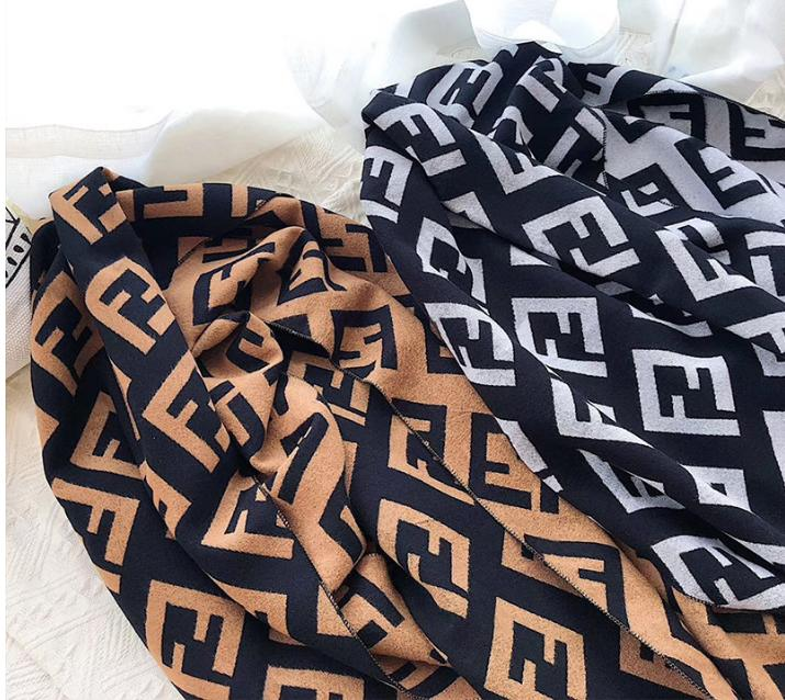 New Double-sided Thick Cashmere Scarf Simple Letter Wild Shawl