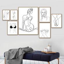 Абстрактные линии женские настенные художественные картины на