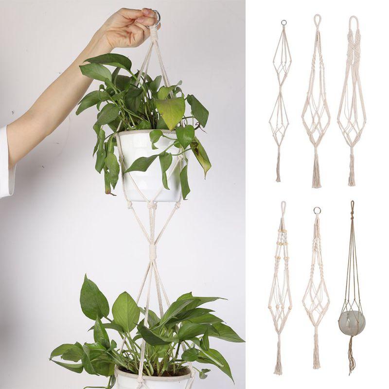 Cintres de plantes en corde de coton tissé à la main Pot de fleur suspendus jardinière porte-panier pour balcon décor de jardin