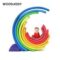 Dropshipping 12Pcs Rainbow Blocos Brinquedos De Madeira Para Crianças 11Pcs Semicírculo Placa Presente Bonecas Crianças Blocos de Construção Educacional