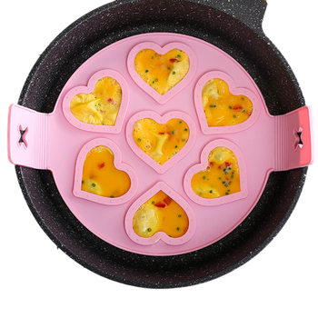 Silicone Seven-Hole Omelette Mold, Multi-Function Round Star Heart-Shaped Pancake Tool (Red/Purple/Pink) 2020 New Arrivals image