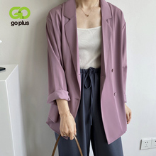 GOPLUS Blazer Women Jacket 2020 Summer Office Lady Purple Blue Coats Blazers Feminino Ropa De Mujer Veste Officier Femme C10523 cheap Turn-down Collar Full Thin (Summer) Polyester COTTON Loose Solid Button REGULAR Streetwear Ages 18-35 Years Old Double Breasted