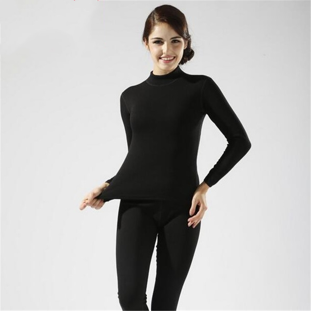 2020 Winter New women's Thick Velvet High Collar Cotton Thermal Underwear Sets Ms. Thick Warm Long Johns Plus Size Women Longies