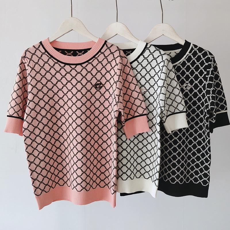 2020 Summer Women Fashion Printing Plaid Crew Neck Short Sleeve T Shirt Female Loose Tees Female Tops Leisure Knitted T-shirt 1