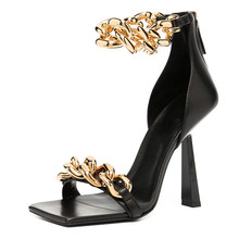 Senhoras de verão moda saltos finos sandálias femininas bombas sexy corrente dedo do pé quadrado sapatos femininos calçados femininos plus size 2021