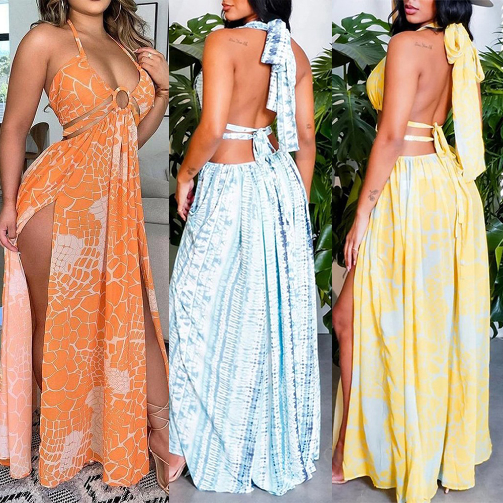 Sexy Lace Halter Print Dress Long Skirt