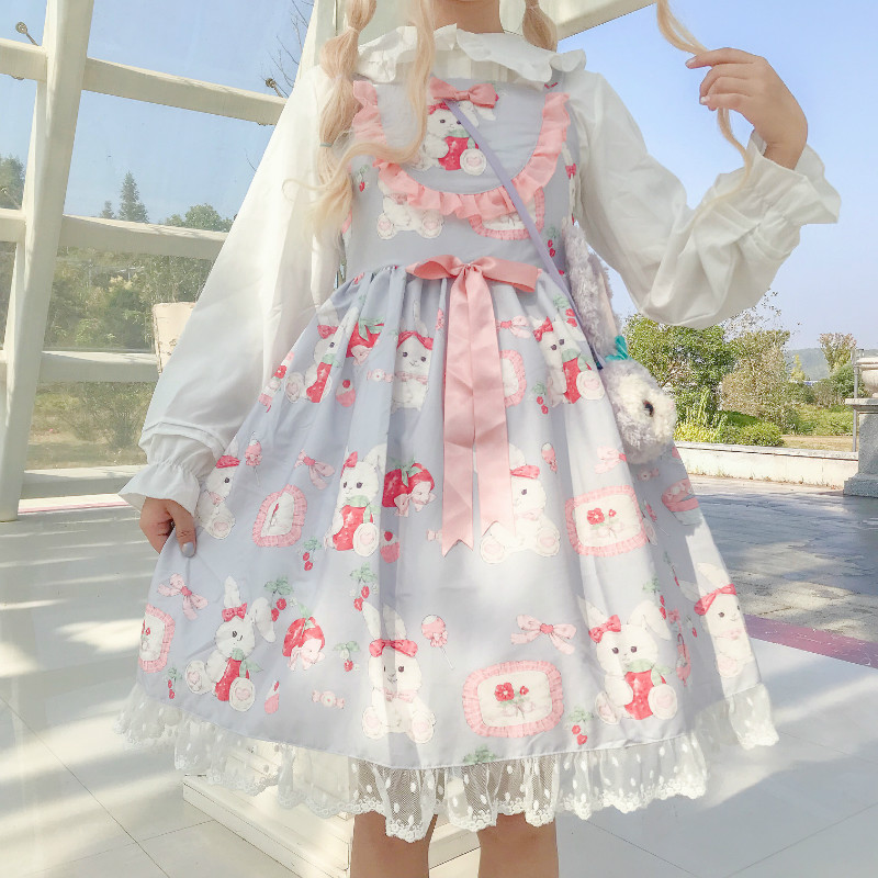 Princess Lolita Sweet JSK Vintage Kawaii Princess Lolita Dress Bowknot Victorian Dress Kawaii Girl Gothic Lolita Loli Cosplay