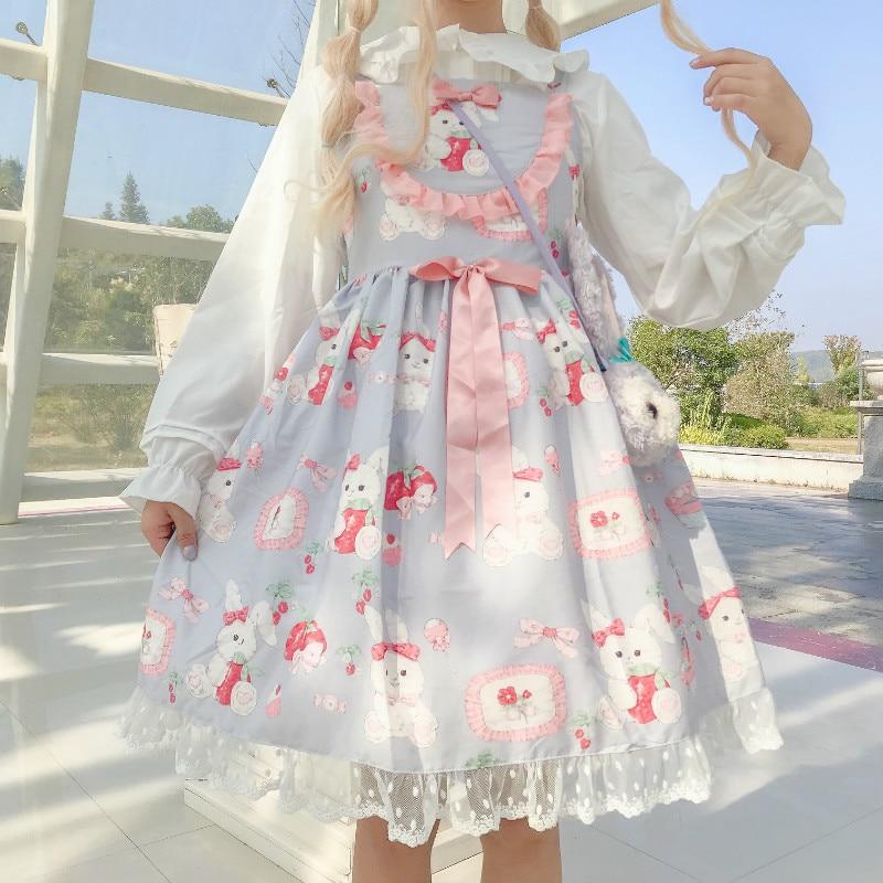 Princess Lolita Sweet JSK Vintage Kawaii Princess Lolita Dress Bowknot Victorian Dress Kawaii Girl Gothic Lolita Loli Cosplay