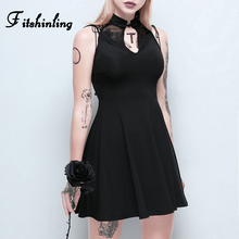 Fitshinling Lace Patchwork Vintage Gothic Dresses Women Slim Sexy Sleeveless Vestidos Goth Dark Black Dress Female Sale