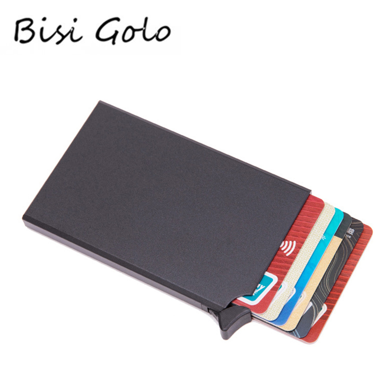 BISI GORO RFID Anti-theft Smart Wallet Thin ID Card Case Unisex Automatically Solid Metal Bank Credit Card Holder Business Mini