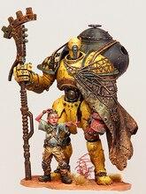 1/24 fantasia guerreiro com criança suporte e assistir resina figura modelo kits miniatura gk unassembly sem pintura