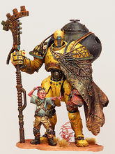 1/24  fantasy warrior with child stand and watch Resin figure Model kits Miniature gk Unassembly Unpainted