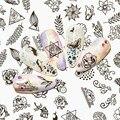 12 шт черные цветочные бабочки Водные Наклейки для ногтей полый дизайн ногтей переводная наклейка переводная вода слайдер Декор Маникюр