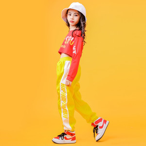 Image 3 - 2019 Childrens Jazz Dance Costumes Girls Hip Hop Wear White sweatershirt Yellow Pants Street Dance Performance Clothings