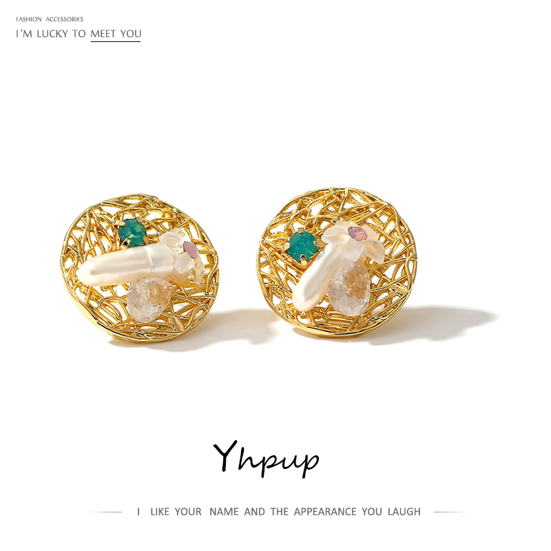 Yhpup Freshwater Pearls Gold Color Round Stud Earrings Charm Metal Small Earrings Jewelry For Women Gala Gift брелок 2020 New