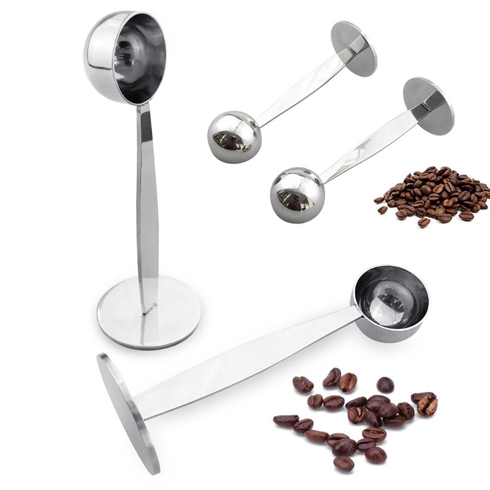 Горячая 2 в 1 нержавеющая сталь кофе Темпер мерная ложка лопатка с подставкой эспрессо кофе в зернах чайная ложка кофейная посуда Кухня Gadg|Пестики для кофе|   | АлиЭкспресс