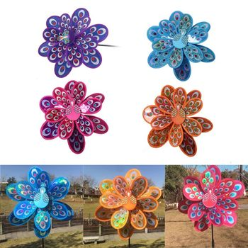 Double Layer Peacock Sequins Windmill Colorful Wind Spinner Kids Toy New