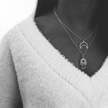 Simple Double Layer Moon Hand Necklaces & Pendants For Women Vintage Charm Silver Choker Necklace 2019 Female Jewelry Wholesale(China)