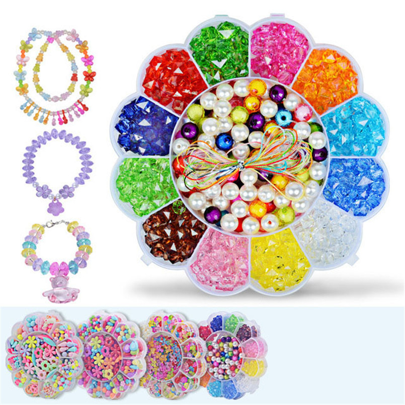 3D Handmade DIY Acrylic Beads Set Puzzle Toy For Kids Girls Ewelry Necklace Bracelet Bead Educational Creative Children Toys Box