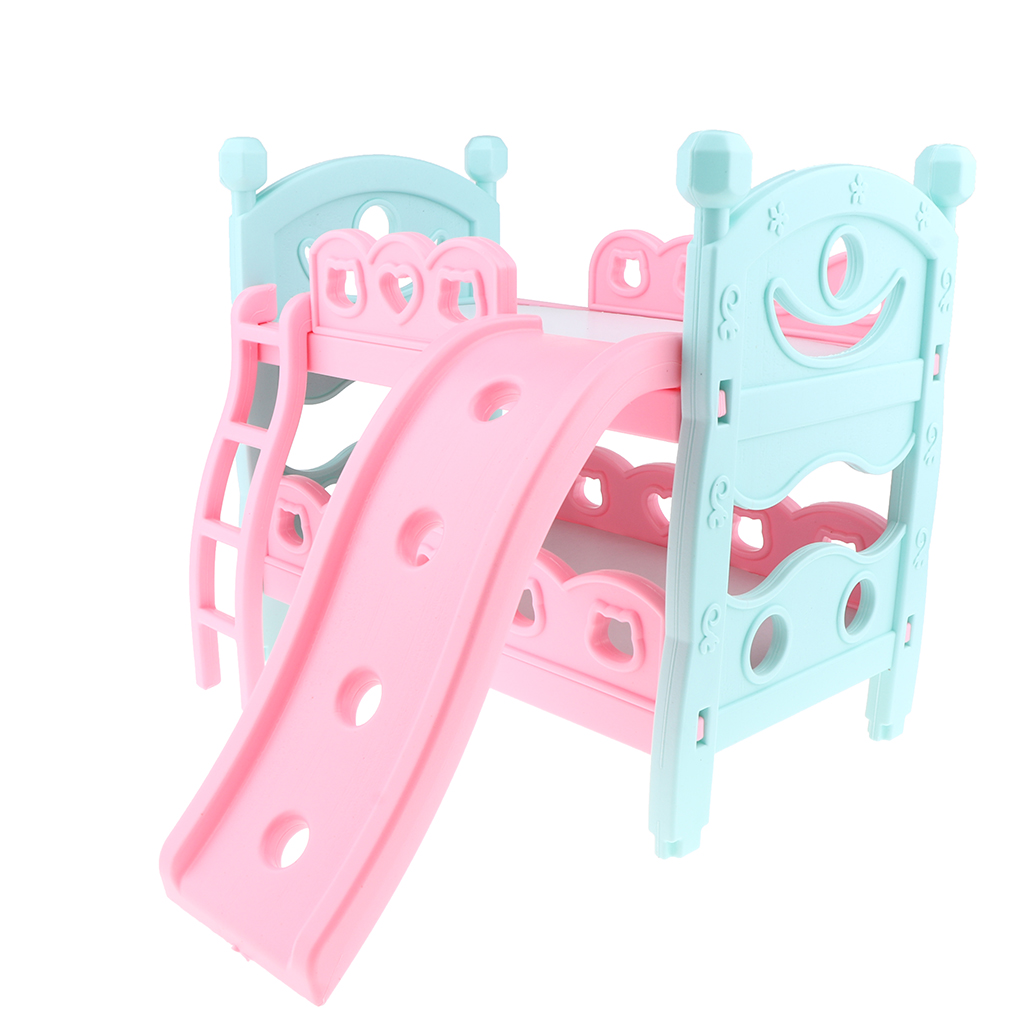 Dollhouse Miniature ABS Bunk Bed Double-Decker Assembly Furniture Playset For Mell Chan Baby Doll Accessory Pretend Play Toy