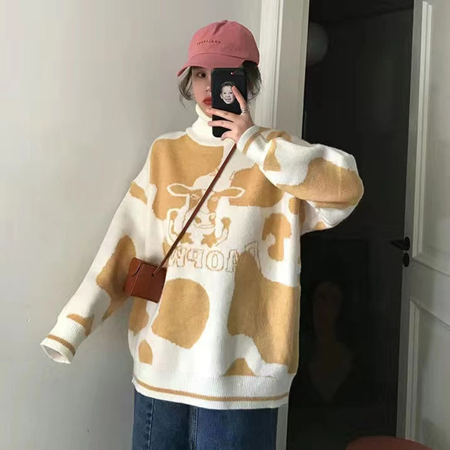 Sweater pullover autumn and winter new sweet pullover sweater female student Korean version loose wild sweater coat trend 2021 4