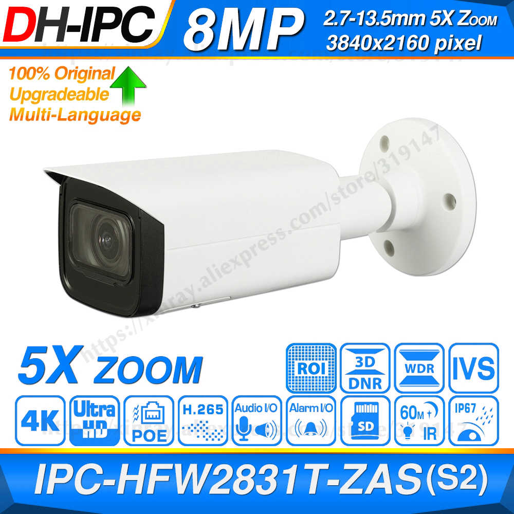 Dahua Originele IPC-HFW2831T-ZAS-S2 8MP 4K 5X Zoom Poe Sd-kaartsleuf Audio Alarm I /O H.265 + 60M Ir Ivs IP67 Starlight Ip Camera